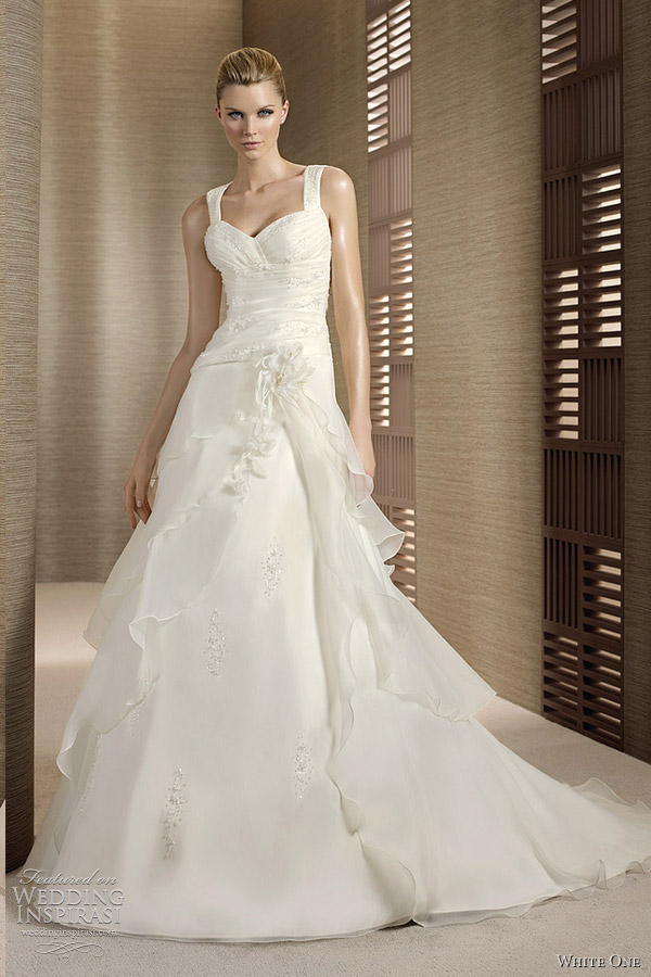 line wedding dress with straps one a line wedding dresses