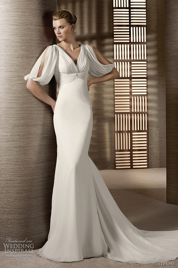 white one drape sleeve wedding dress olvan
