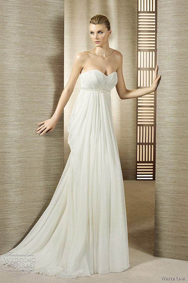 White one 2012 wedding dresses wedding inspirasi for Empire style wedding dress