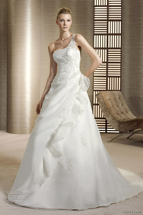 white one shoulder a line wedding dress - oceano