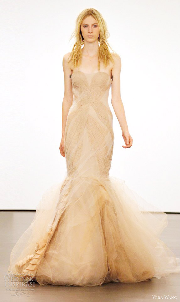 vera wang color wedding dresses 2012 Nude silk radzimire twopiece mermaid