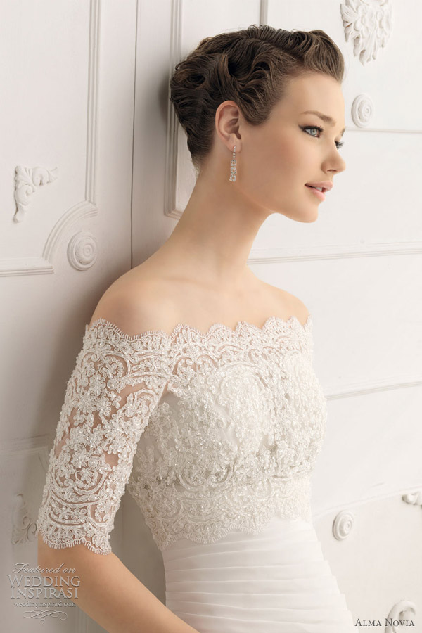 Saboya Pleated Gown Shown With Offtheshoulder Beaded Lace Short Sleeve