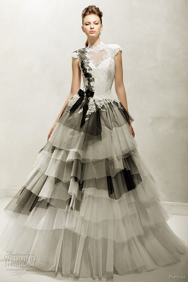 black and white wedding dress 2012