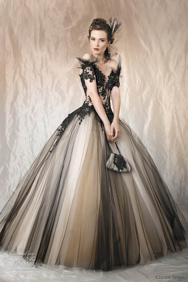 black tulle wedding dress