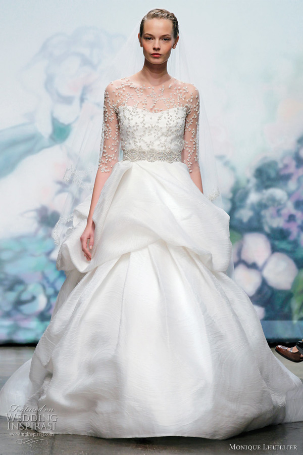 monique lhuillier fall 2012 wedding dress Cherish silk white chantilly lace