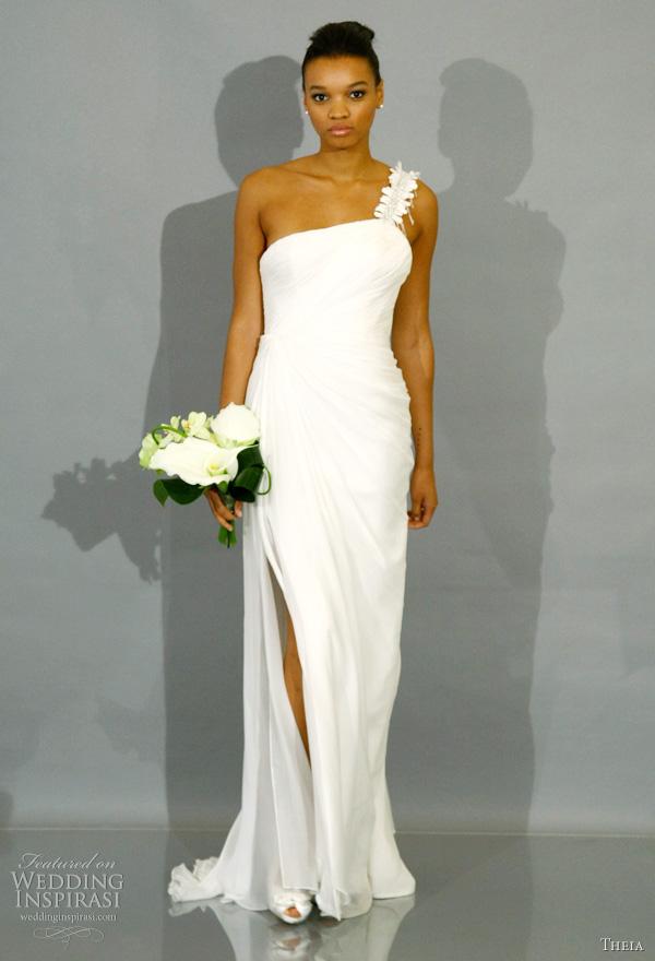 One Shoulder White Wedding Dress