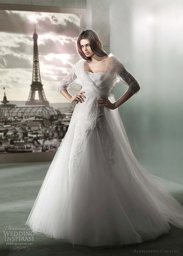 alessandro couture 2012 POSIDONIA  long sleeve wedding dress