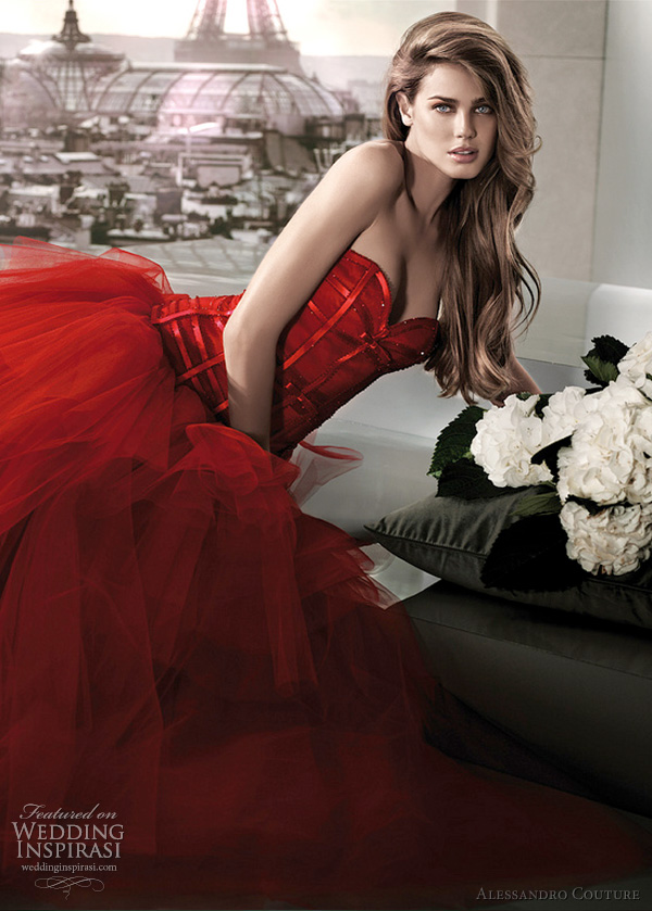 alessandro couture red wedding dress - LILLIPUTIAM