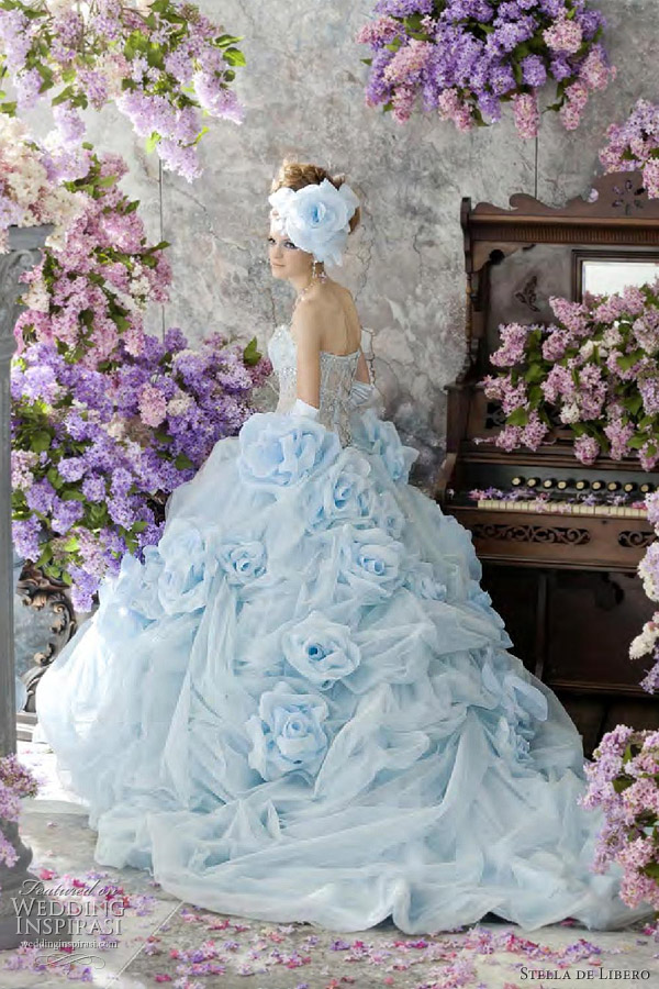 Stella de libero color wedding dresses wedding inspirasi for Light blue and white wedding dresses