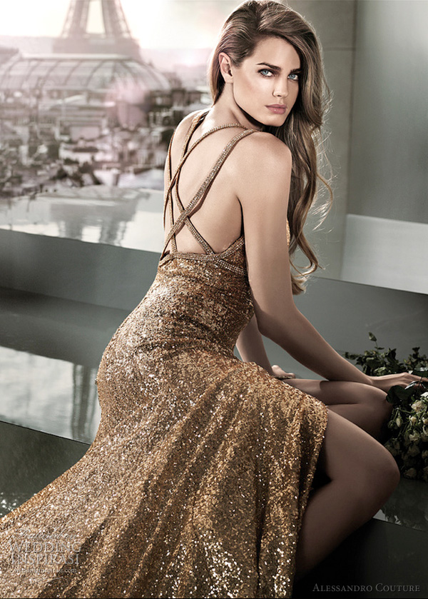 gold wedding dresses 2012 - NINA ORO by Alessandro Couture