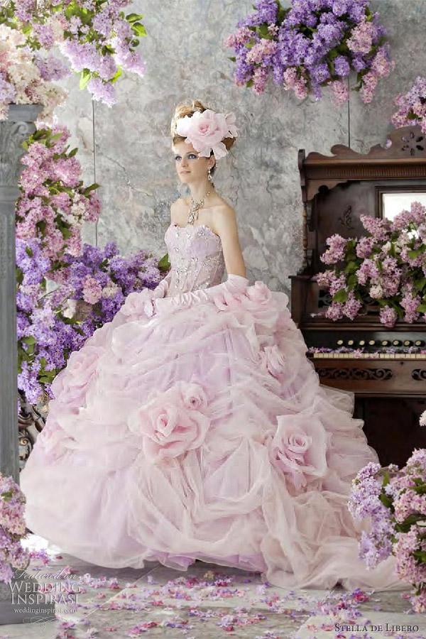 pink wedding dress Pale peach