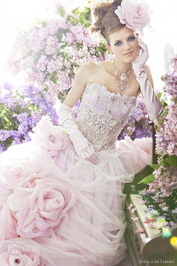 pink wedding gown by Stella de Libero
