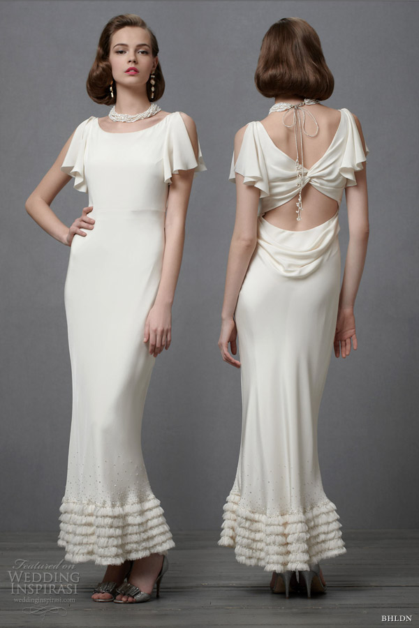 Dulcinea gown with appliqued flora flourishes of embroidery and eyelet