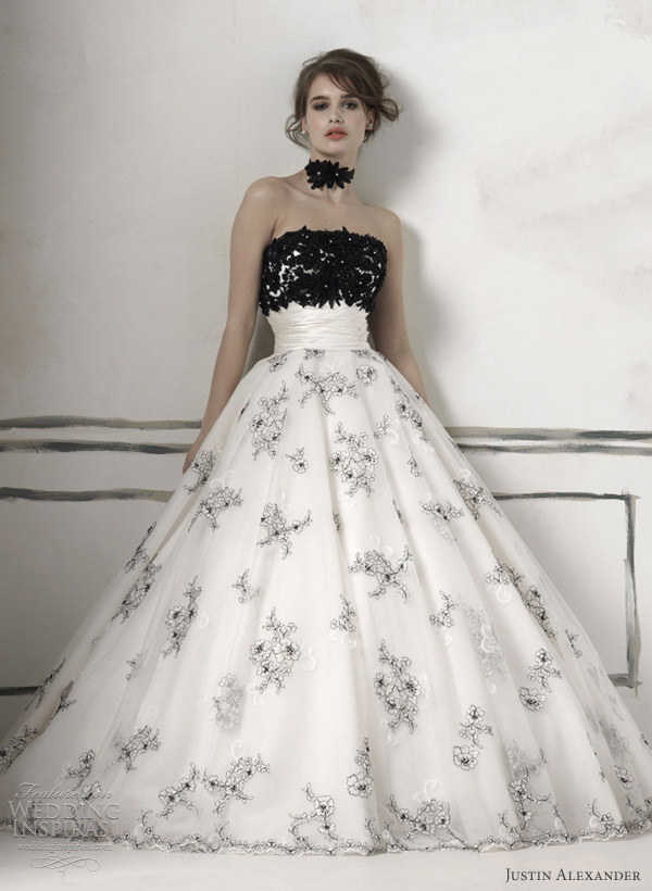 black and white wedding dress 2012 style 8510