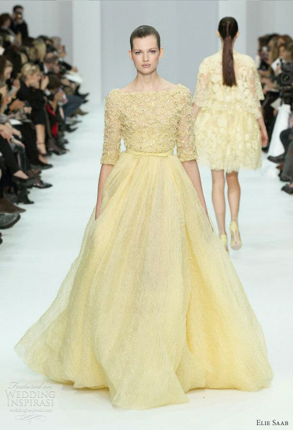 elie saab 2012 - yellow wedding dress ideas