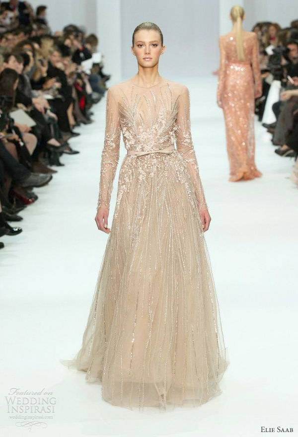 elie saab bridal - 2012 long sleeve color wedding gown inspiration
