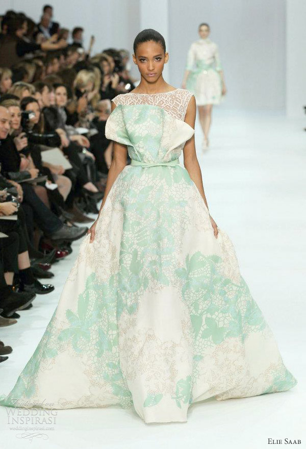 elie saab couture 2012 - white and mint green gown