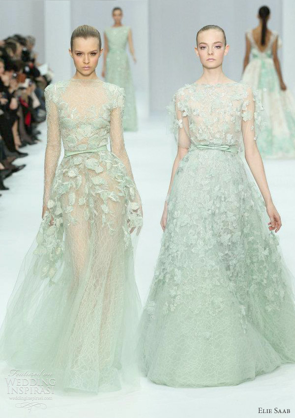 elie saab haute couture spring 2011 - pale seafoam green or mint cream gowns