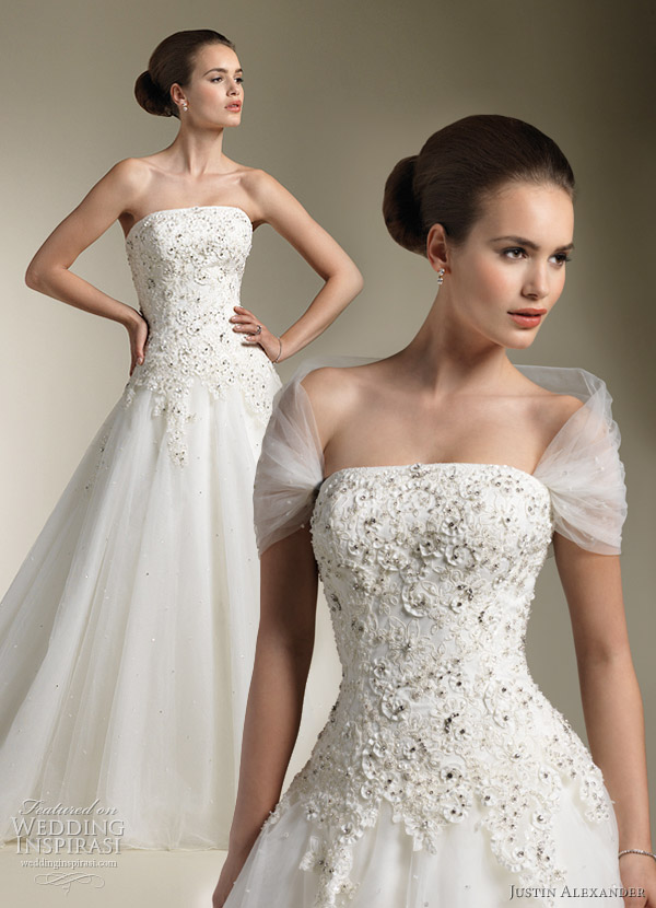 justin alexander 2012 wedding dress 8615 with tulle wrap