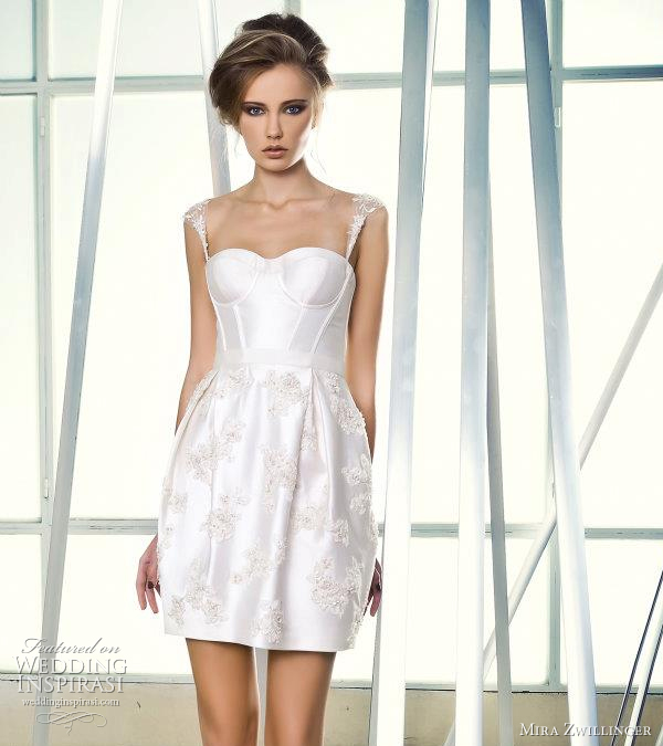 mira zwillinger short wedding dresses 2012
