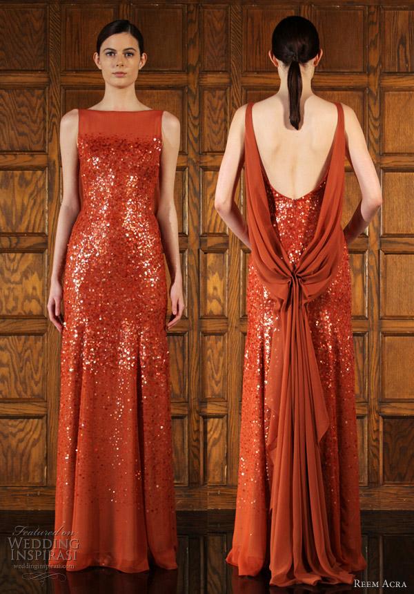 reem acra fall 2012 red dress