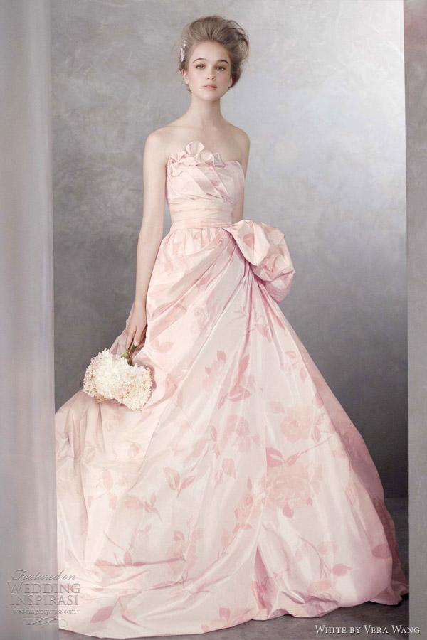 white by vera wang pink wedding dress