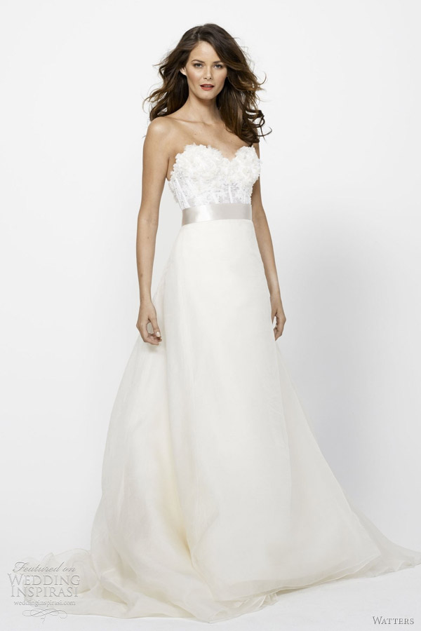 Watters bridal spring 2012 collection wedding inspirasi for What to wear under wedding dress corset