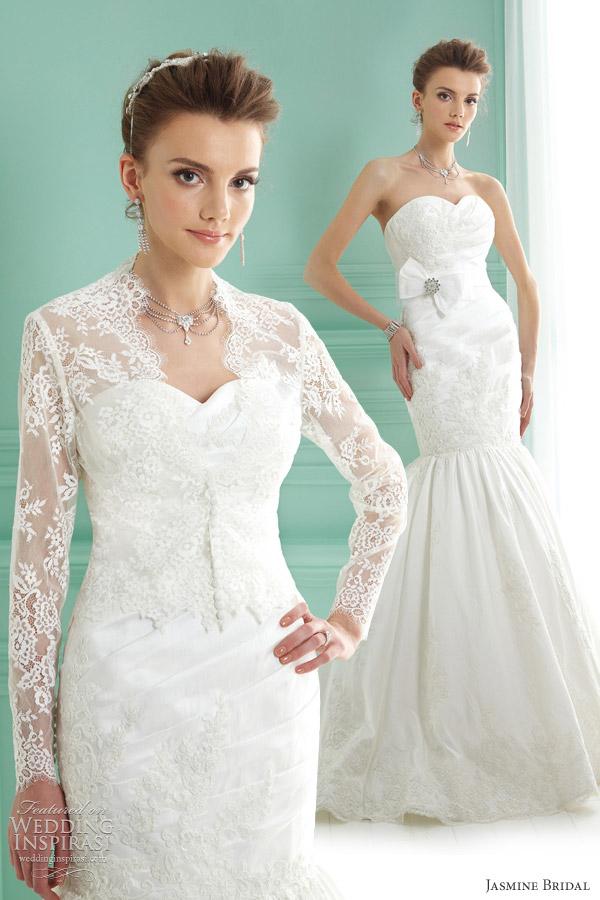 Shown With Long Sleeve Lace Jacket Jasmine Wedding Dresses 2017