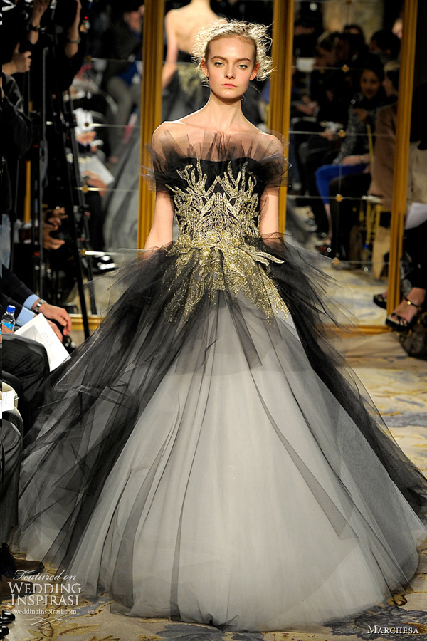 4d30ef328f White and black tulle gown with gold embroidery. marchesa fall 2012 ready  to wear