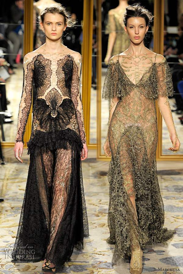 marchesa fall 2012 red carpet dresses