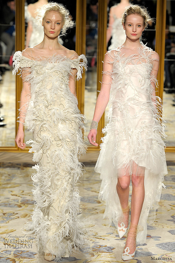 marchesa fall winter 2012 feather dresses