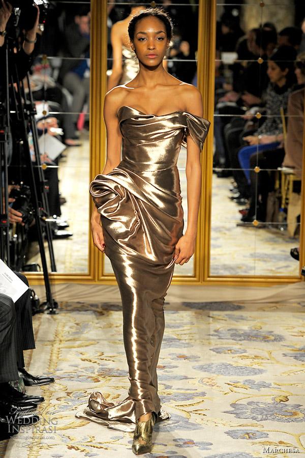 marchesa gold dress fall 2012