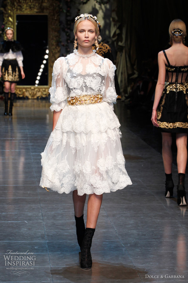 black gold nude and beige dolce gabbana wedding dresses fall 2012