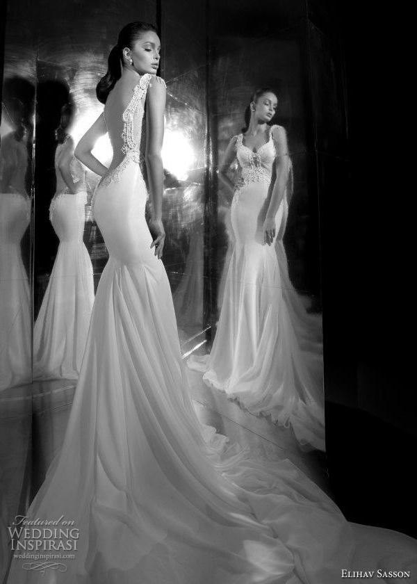 Mermaid gown with open back elihav sasson wedding gown 2012 Corset and