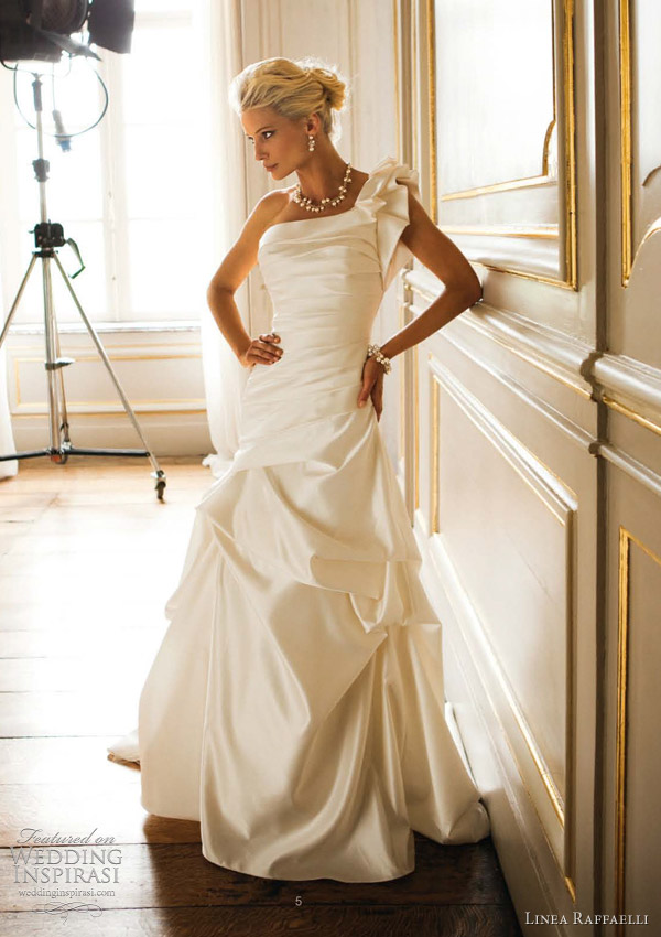 one shoulder wedding dress linea raffaelli