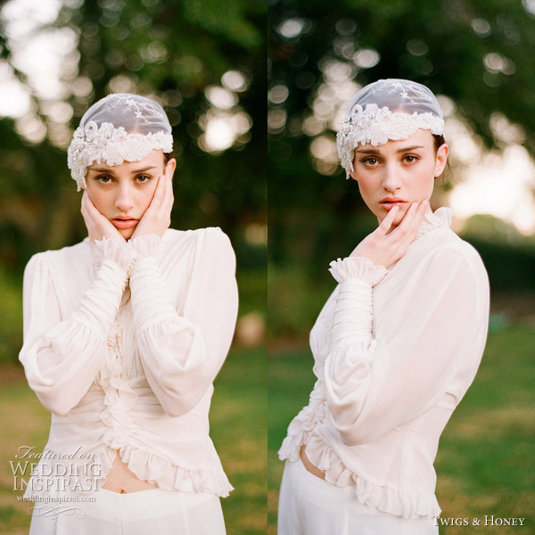 twigs and honey 2012 lace bridal cap