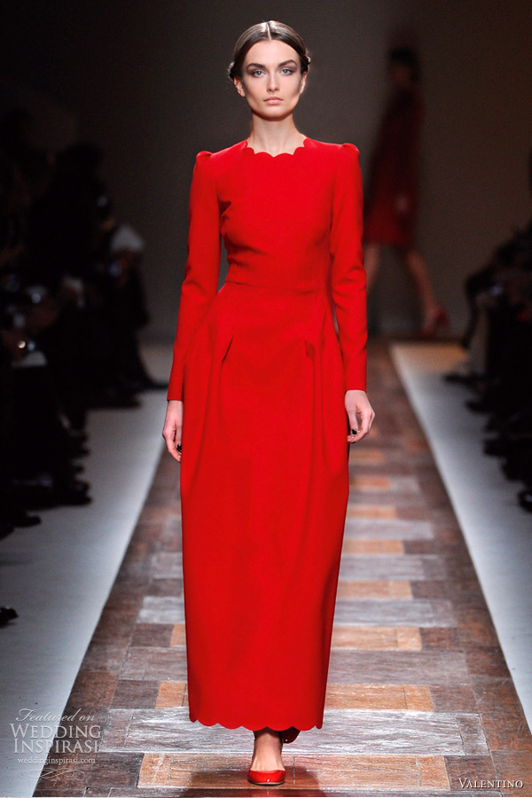 valentino fall 2012 long sleeve red dress
