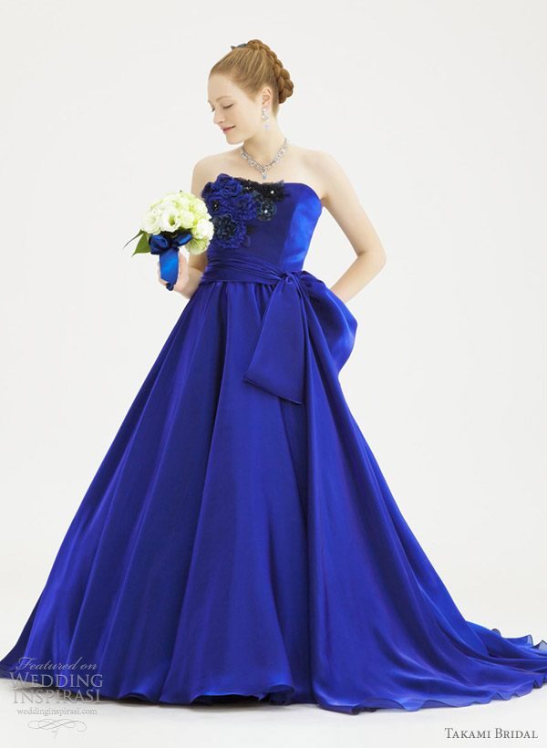 Wedding Dress With Royal Blue Color : Royal blue accented wedding dress images