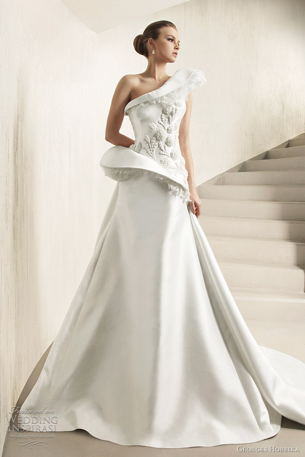 georges hobeika one shoulder wedding gown