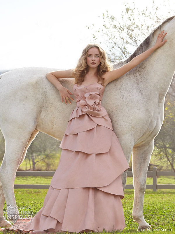 jim hjelm blush pink wedding dress