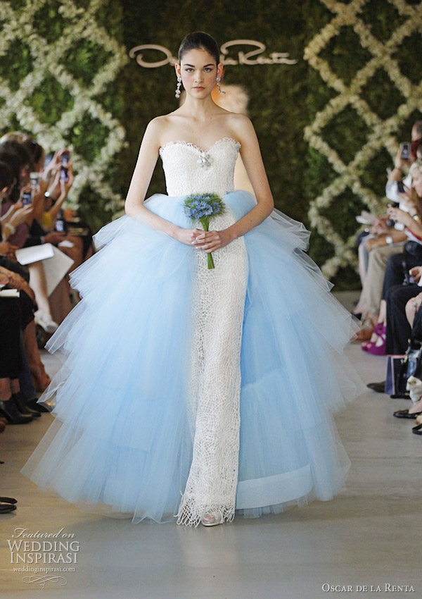oscar de la renta spring 2013 blue wedding dresses
