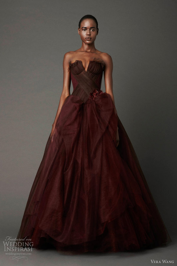 Dahlia strapless ball gown with notched neckline and lifted tulle skirt with