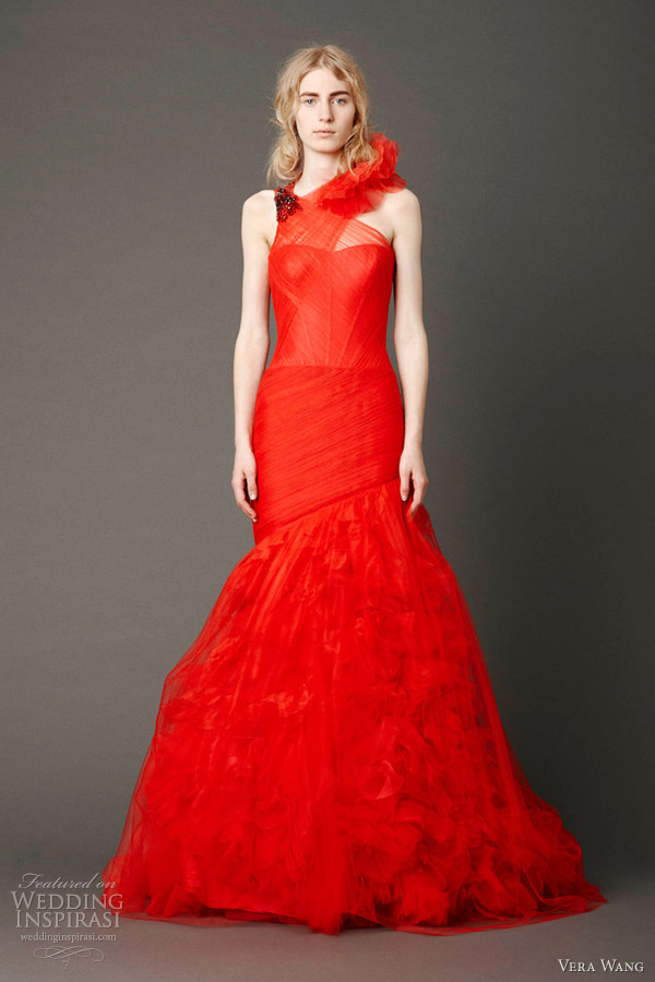 vera wang spring 2013 red wedding dress