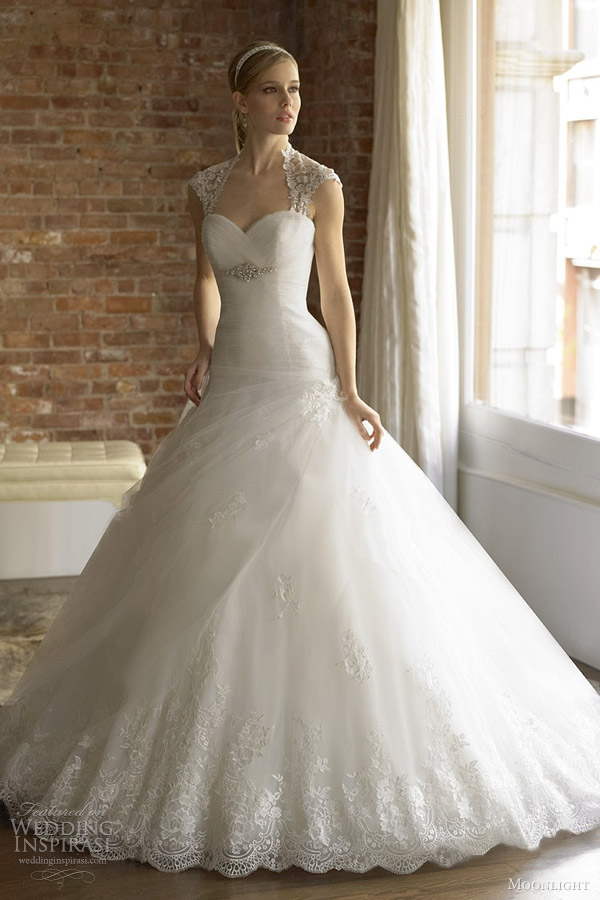 cap sleeve wedding dress moonlight bridal
