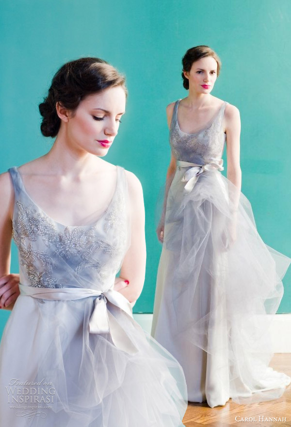 carol hannah 2013 downton silver wedding dress