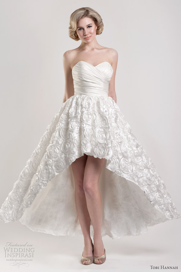 tobi hannah short long hi lo running wedding dress