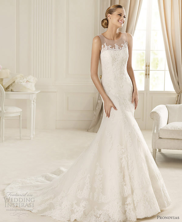 wedding dress illusion neckline pronovias 2013