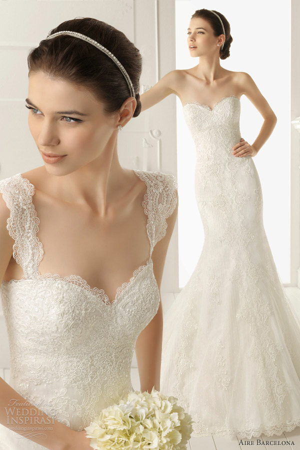 Aire barcelona 2013 wedding dresses wedding inspirasi for Lace fit flare wedding dress