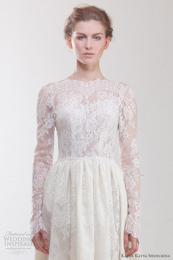 katya katya shehurina 2012 2013 elisabethe long sleeve lace wedding dress