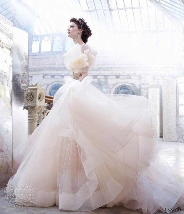 Lazaro Sherbet Pink Wedding Dress Ball Gown Sweetheart Satin Organza Floral Jewel Horsehair 3250